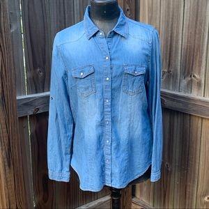 Cavalini chambray button down shirt, size xl